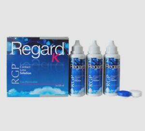 Regard K RGP Gas Permeable Contact Lens Solution 3 x 120ml with cases