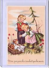 VINTAGE FRENCH BOY AND GIRL WITH BASKET OF KITTENS CATS POSTCARD #413
