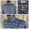 Peter Millar Mens Large Long Sleeve Button Front Shirt Blue Black Plaid EUC