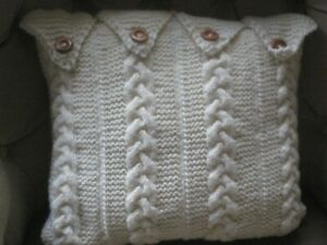 Knitted Cushion Cover in cream - as illustrated