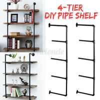4-Tier Industrial Iron Pipe Shelf Wall Mounted Hanging Storage Shelves  A U