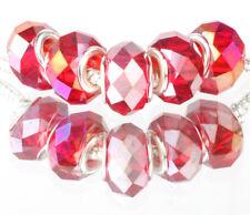 red AB 5pcs MURANO Crystal bead LAMPWORK fit European Charm Bracelet #L519