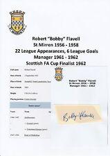 BOBBY FLAVELL ST MIRREN 1956-1958 RARE ORIGINAL HAND SIGNED CUTTING/CARD