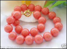 Genuine 8mm South Sea Coral Color Shell Pearl Round Beads Necklace 18''