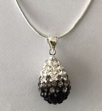SHAMBALLA GRADIENT BLACK + WHITE 15mm TEARDROP PENDANT NECKLACE +SNAKE CHAIN-S/P
