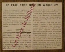 Article Le prix d'une nuit en wagon lit ,chemins de fer ,1900,french advert