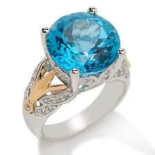 Victoria Wieck 8.78ct Swiss Blue Topaz and White Topaz 2-Tone Ring