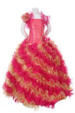 New Glitz Pageant Wedding Party Bolero Ruffled Dress Fuchsia/Gold 2 4 6 8 10 12