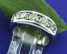 1.75 ct 14k Solid White Gold Mens Natural Diamond Ring 5 stone Shared prong