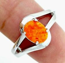 Last One! Rainbow Mystical Bright ORANGE Fire Opal Sterling Silver Ring Size 7