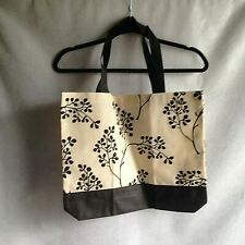 "Fabric Tote Bag Handbag Black Beige 17"" X 14"""