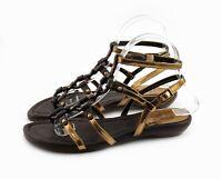 Stuart Weitzman Sandals Leather Ankle Strap Flats Size 7 M