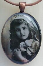 Vintage Girl Glass Resin Photo Pendant in a Copper Colour Bezel