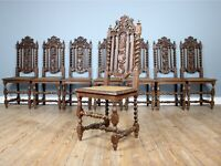 Set of Eight 19th Century French Hand Carved Dining Chairs
