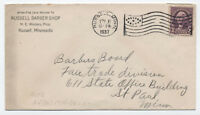 1937 Russell MN ovate flag cancel on 3 ct washington barber shop [4265.3]