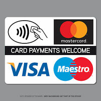 Contactless Card Payments Sticker Credit Card Taxi Shop VISA Mastercard - SK2540