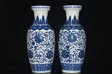 2pc Exquisite China Jingdezhen Hand Painted flower Blue and White Porcelain vase