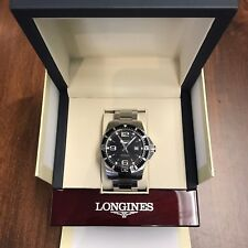 New Longines 44mm HYDROCONQUEST Quartz L38404566 Watch Black Dial Box & Papers