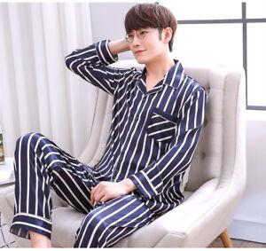 Women Men Silk Satin Pajamas Set Sleepwear Comfort Pyjamas Long Sleeve Nightwear
