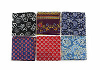 100% SILK PAISLEY POCKET SQUARE HANKY MENS HANDKERCHIEF + BLACK SATIN BOW TIE
