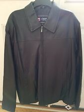 NEW Mens CHAPS Black LEATHER Zippered Jacket XL ** NEW WITH TAGS **