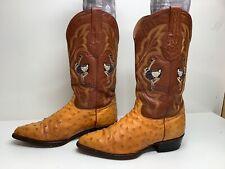 Vtg Mens El General Cowboy Ostrich Skin Orange Boots Size 8.5
