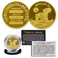 """Apollo 11 50th Anniv Commemorative NASA Space Medallion 1.25"""" Coin 24K GOLD Clad"""