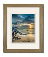 11X14 Driftwood Coastal Wood (Wide) Frame with Double White Mat for 8x10