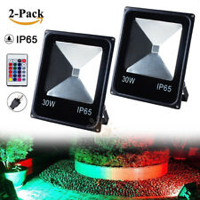 2Pack RGB Flood Light 30W Outdoor Garden IP65 Spot LED Lamps Colorful Remote US