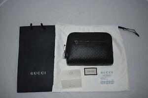 Gucci Black Calf Leather Micro GG Guccissima Pattern Wash Bag Toiletry Washbag