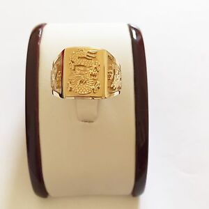 NWOT 14K Solid Yellow Gold Engraved Dragon Men's Ring -  size 11.75 - R43