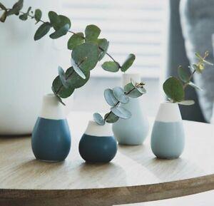 Rader Set 4 MINI VASE Flower Pots WHITE & BLUE Ceramic Räder