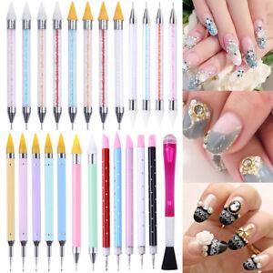 Dual-ended Dotting Pen Rhinestone Studs Picker Wax Pencil Nail Art Decor Tools