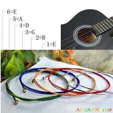 6PCS Multicolour Metal Stainless Steel E B G D A E Strings For Acoustic Guitar