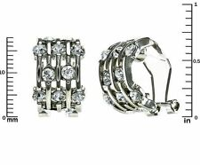 Beautiful 5 Row Clear CZ Omega Back Earrings Rhodium Plated-20 By 10 MM