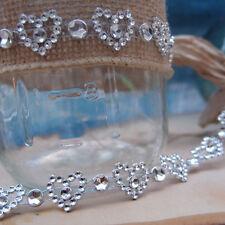 """1/2"""" x1YD Silver Diamond Heart Mesh Wrap Roll Crystal Rhinestone Sparkle Ribbon"""