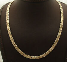 """18"""" 6mm Wide All Shiny Byzantine Chain Necklace Real 14K Yellow Gold HSN"""