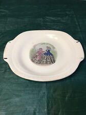 "SALEM CHINA -  Godey Prints ""Ribbed Rim""  pattern -  Oval Serving Platter - Bone"