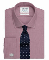 T.M.Lewin Regular Fit Burgundy Micro Dogtooth Shirt – Double Cuff