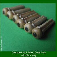 Oversized Guitar Bridge Pins 5.7mm, 3 degree taper. Birch Wood & Black Dot PP051