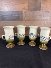 Set of 4 Vintage Stoneware Irish Coffee Mugs Brown Green Blue Flowers