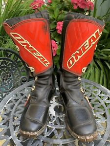 Vintage O'Neal Black & Red Motocross M-840 Boots Size 10