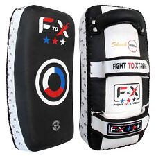 Escudo Patada cuero auténtico, Boxeo CURVADO Brazo acolchados Muay Thai Punching