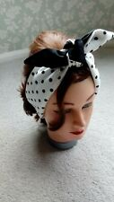 HEAD SCARF HAIR BAND WHITE BLACK spotted polka dot bow stretch jersey BUNNY