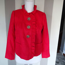J. Crew tweed Ruffle Salmon Pink herringbe wool Jacket Blazer Crop Sz 2P vh