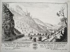 Hauenstein Burg Homberg Basel-Land  Schweiz Kupferstich von Herrliberger 1758 1