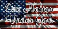 PATRIOTIC CHRISTIAN ALUMINUM LICENSE PLATE ONE NATION UNDER GOD AMERICAN FLAG