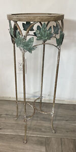 """Vintage Metal Plant Stand 27.5"""" Tall BEAUTIFUL Stand 10"""" Diameter at Top"""
