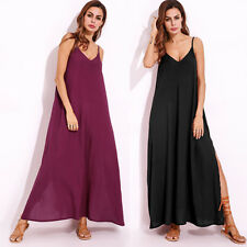 ZANZEA AU 8-24 Women Plus Size V Neck Long Maxi Dress Slit Party Beach Sundress