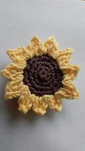 Crochet sunflower brooch, gift, present,wedding corsage, stocking filler